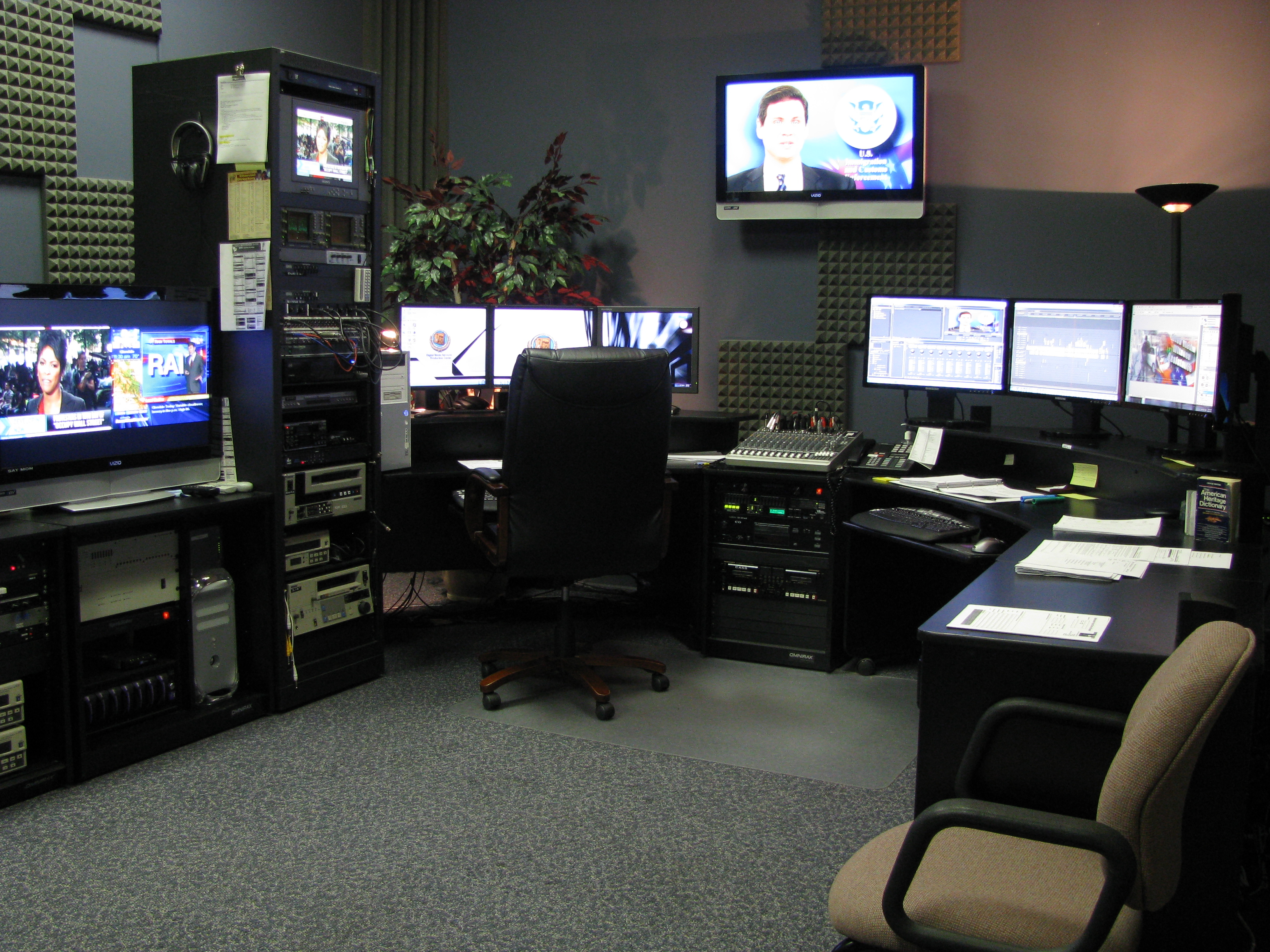 Inside the video production room.